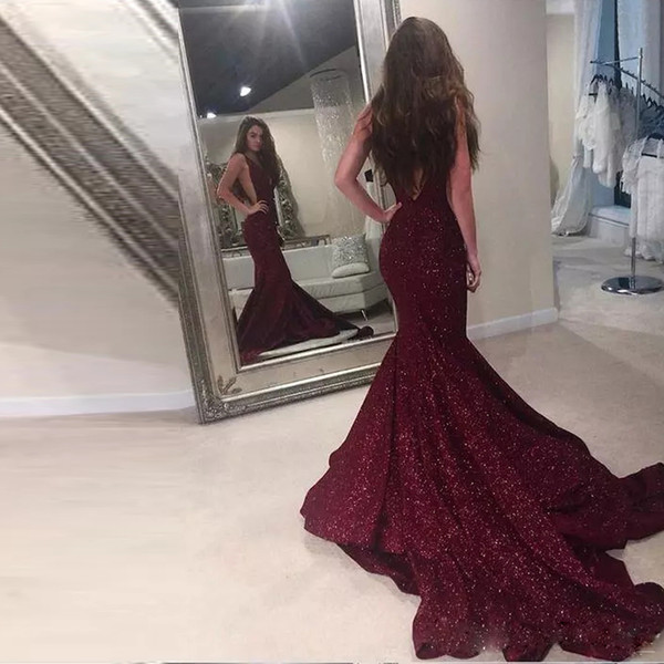 Sparkly Burgundy Mermaid Evening Dresses Deep V-neck Spaghetti Strap Backless Celebrity Dress Sweep Train Red Carpet Gowns
