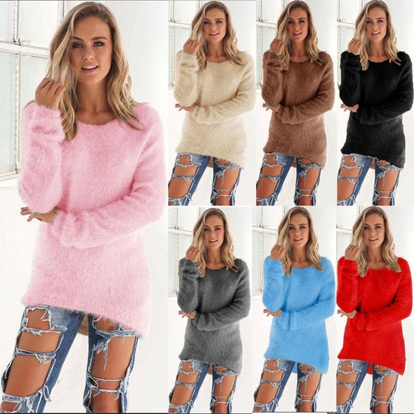 Womens Ladies Long Sleeve Velvet Chunky Knitwear Blouse V Neck Fluffy Sweater Sweatshirt Winter Warm Pullover Jumpers Tops