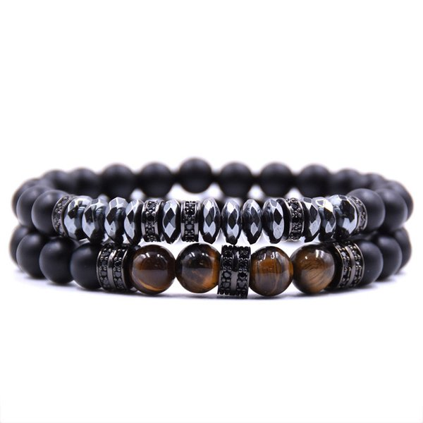 201810 Fashion Natural Stone Cylindrical Copper Bracelet 8mm Beads Charm Jewelry Frosted Matte Beaded Bracelets 2PCS/Set Unisex Bangle H803F