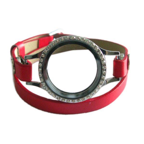 Screw Twist Open Style Red Floating Locket Bangle Bracelet With PU Leather Double Wrap Belt Bracelet Floating Charm Bracelet