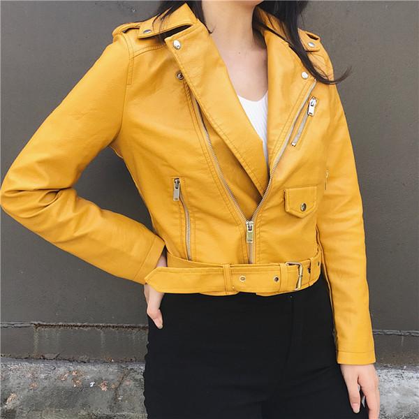 Fashion Buckle Belt Waist Band Slim Elegant Faux Soft PU Leather Short Jacket Korean OL Motorcycle Crop Top Coat Windbreaker New