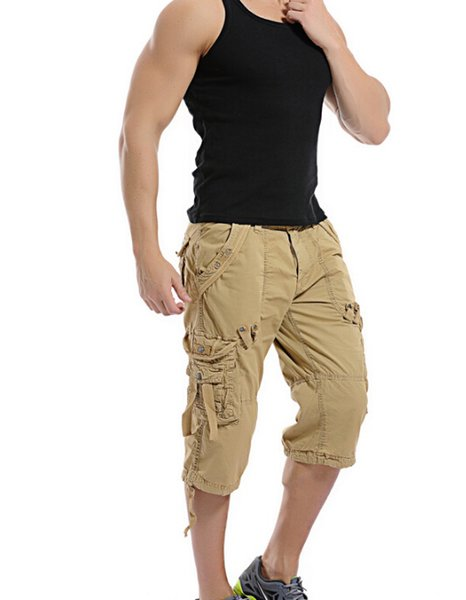 New Style Man's Cargo Pants Pure Color Loose Capris Hip Hop Skateboard Fashion Pants For Man