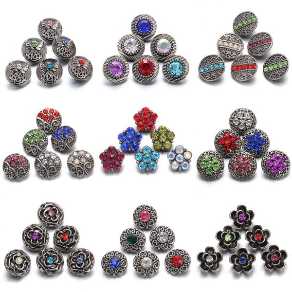 Interchangeable Jewelry Flower Mini 12mm Metal Snap Button with Rhinestone Noosa Chunks Ginger Charms Button Jewelry Snap Bracelets