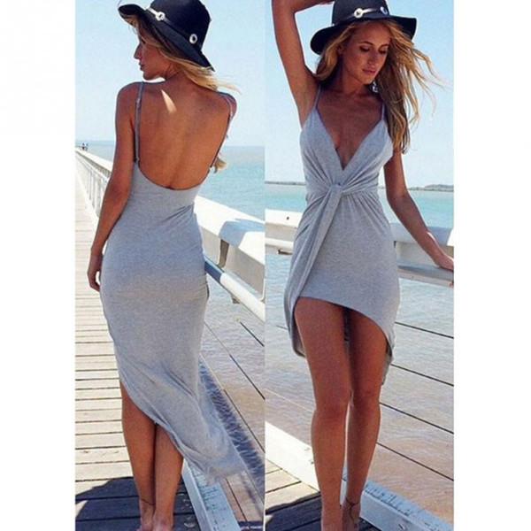 Deep V-neck Sexy Summer Dress Women 2019 Summer Sleeveless Sundress Slim Fit Beach Dress Shirt