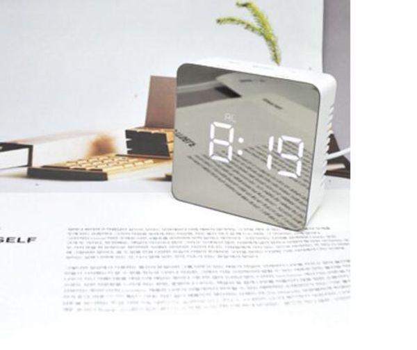 Fashion desktop alarm clock muti functional table clocks square shape clock mirror luminous make up clock