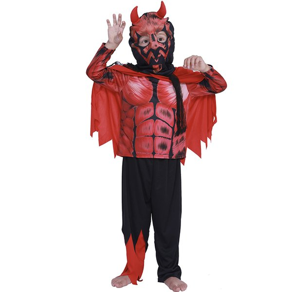Halloween Demon Cosplay Costume for Children for Kids Red Devil Cosplay Carnival Clothing Party Dress Fantasia Infantil WIth Top Pant Cloak