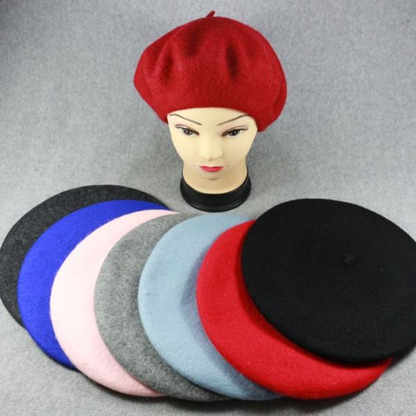 1PC Fashion Sweet Winter Wool Warm Women Felt French Beret Beanie Solid Color Newsboy Berets Hat Cap Casual Headwear for Girls Y18102210