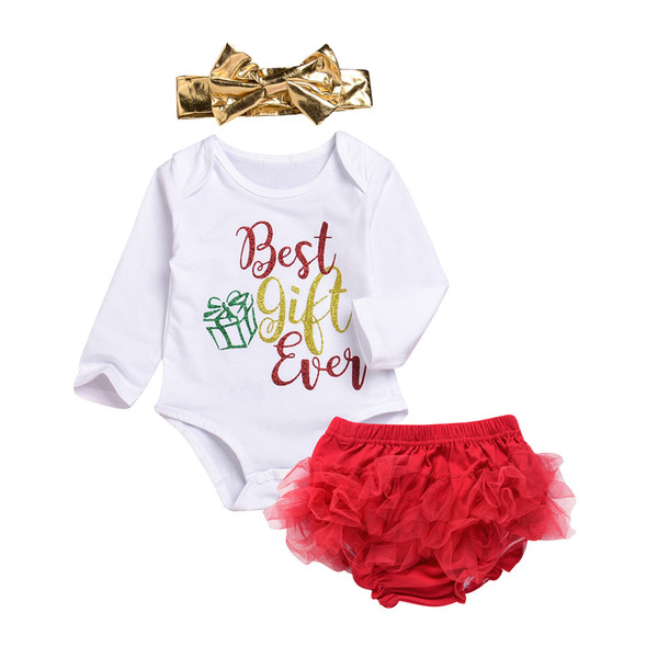 Infant Baby Girls Christmas Sets Best Gifts Ever Glitter Print Rompers + Gold Bow Headband + Lace PP Pants Brief 3pcs Sets Suits A9564