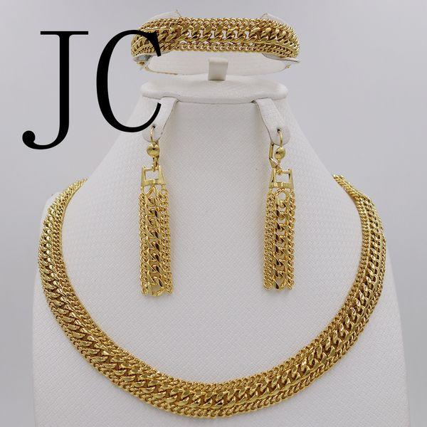 Fashion high quality Jewelry Set Italy 750 gold Earrings Necklace Bracelets Set Wedding Party set