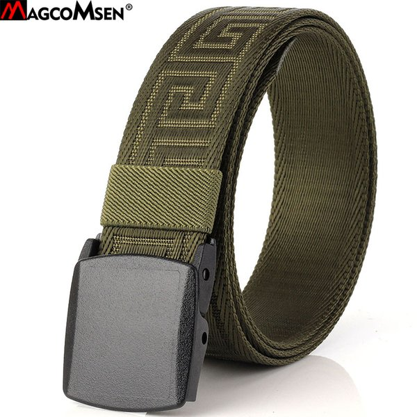 MAGCOMSEN Belts Male Plastic Automatic Buckle Nylon Army Tactical Belt Jeans Mens Waistband Belts Men Cummerbunds 120cm BLL-09