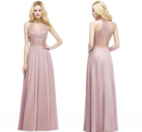 Compre Nuevo Y Elegante Vestido Rosa Largo Para Dama De Honor Vestidos Con Cuello En V Perlas Aplicadas Vestidos De Dama De Honor Baratos Vestido De