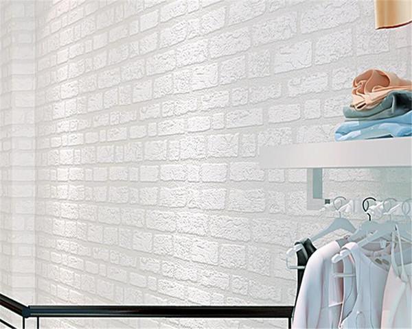 Acheter Beibehang Blanc Brique Papier Peint Simple Salon Tv Canape