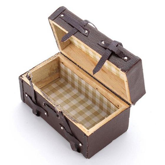 1:12 Doll house Miniature Vintage Leather Wood Suitcase Mini Luggage Box