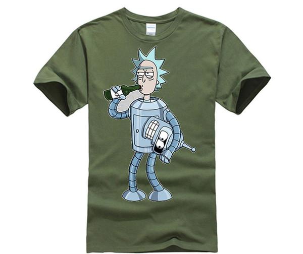 100% Pamuk O-Boyun özelleştirilmiş Tişört Bender Gizli RickMorty Komik Tshirt Anime Kısa Kollu Crewneck Pamuk