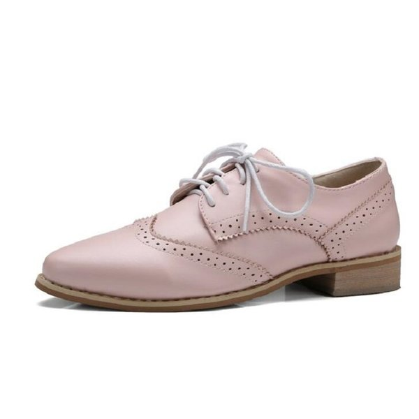 New Fashion Pointed Toe Vogue Flats Shoes Carved Brogue Oxford Shoes For Women Vintage Lace Up Women Oxfords Big Size 26-62