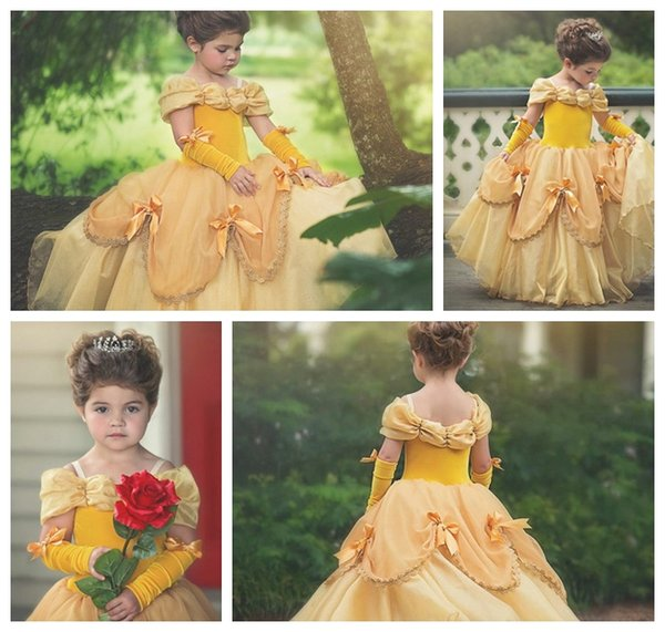 2018 new European and American yellow flower girl princess dress / gold girl wedding dinner dress / more styles into the store selection