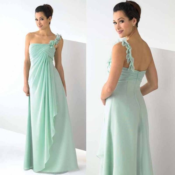 Cheap Long bridesmaid Dresses One Shoulder Sleeveless Flower Ruffle A Line Chiffon Simple Prom Gown Party Dress
