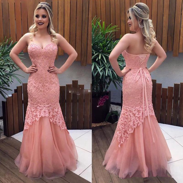 Beauty Blush Pink Lace Mermaid Prom Dresses 2018 Sweetheart Lace Up Back Formal Evening Dress Long Women Pageant Gowns