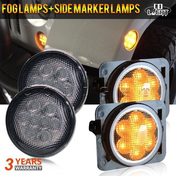 4PCS/Lot LEDs Light Amber Front Fender LED Side Light Parking Turn Lamp For Jeep Wrangler 07-16 4X4 Off Road 12V 24V