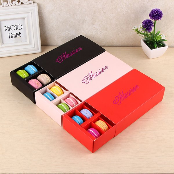 12 Cups Paper Macaron Box Packaging Drawer Type Biscuit Pastry Chocolate Cake Boxes For Wedding Party Gift