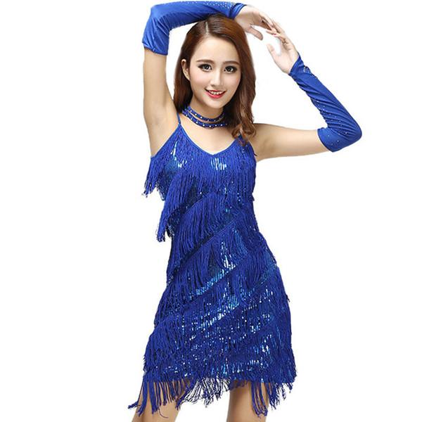 Party Donna Dance Wear Donna Latino Abito Donna Costume latino Cha Cha Abiti Fringe adulto Dancewear