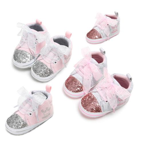 Emmababy Baby crown toddler shoes Baby Girl Canvas Sequin Soft Sole Crib Shoes Sneaker Prewalker stylish features novel