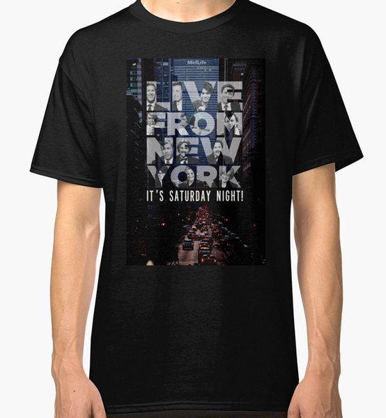 Live From New York, Saturday Night Live Neues T-Shirt Herren Schwarzer Oansatz Mode Rundhalsausschnitt Herren Baumwoll T-Shirt