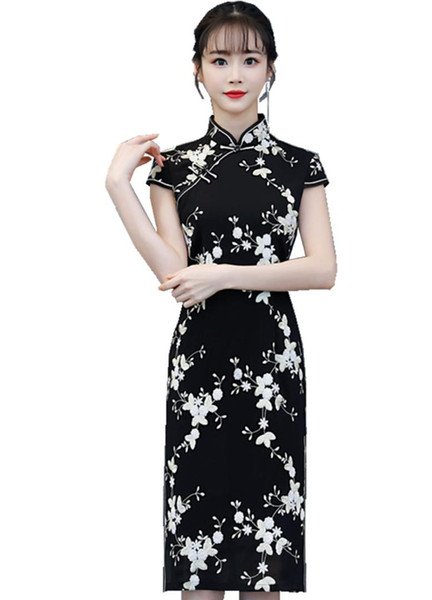 Shanghai Story Black Chinese Style dress long Cheongsam Short Sleeve Floral Qipao Knee Length Chinese Oriental Dress
