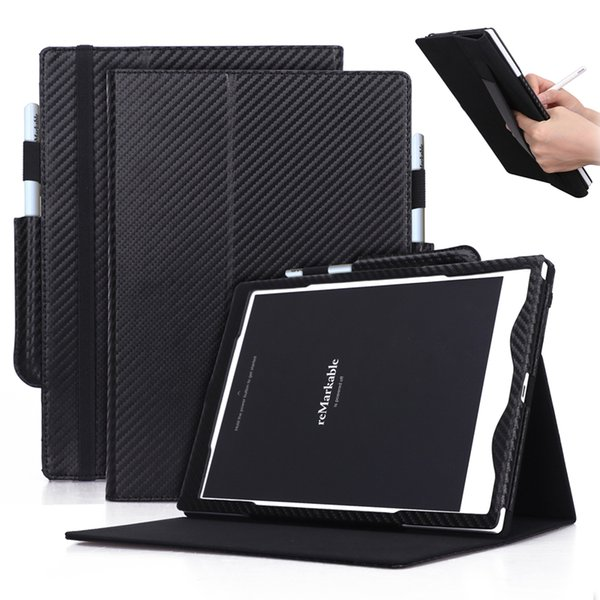 Carbon Fiber Pattern PU Leather Case Cover for Remarkable 10.3 inch E-Book Tablet with Hand Holder Grip Shell Card Slots 30pcs