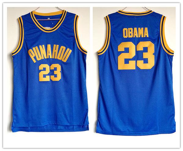 2018 Punahou # 23 Barack Obama-Basketball Jerseys Stitched Stickerei Jerseys für Manngröße S-3XL