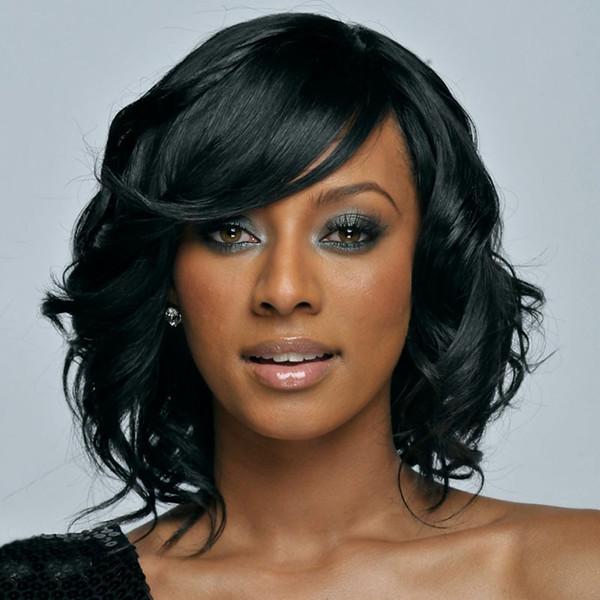 14 Zoll Wonmen Mode verworrene lockige Afroamerikaner Perücken Mittellange schwarze Perücke Synthetische Afro Perücke für Frauen