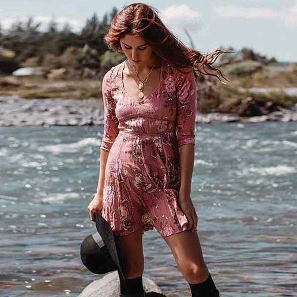 Boho dress vintage rosa floral print mini summer dress V-neck short sleeve women pleated bohemian vestidos 2018 clothes