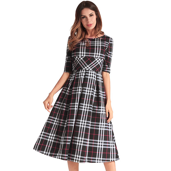 Women\'S Spring And Summer New Round Neck Plus Size Dress Dress Plaid Skirt  Floral Dresses For Fall Sale Black Dresses From Howlyv, $34.17| DHgate.Com