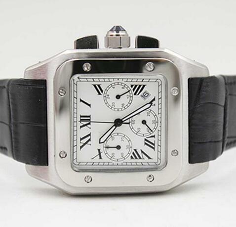 neue Mode Quarz Chronograph100 XL schwarz Lederband Herrenuhren Sportuhr Saphir Qualität großes Zifferblatt