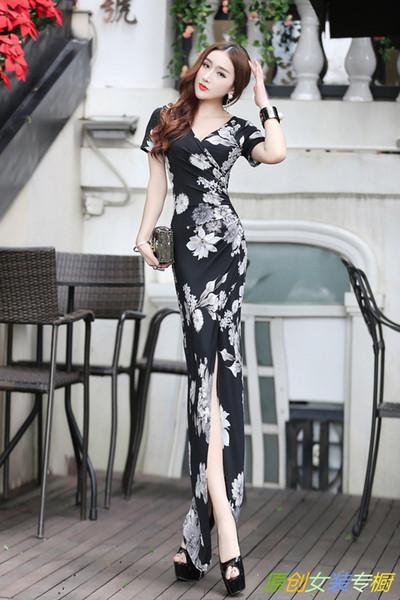 2018 New Summer Wear Chiffon Short Sleeves Elegant Split Sexy Dress Long Skirts Irregular Skirt Women Casual Clothing A0003