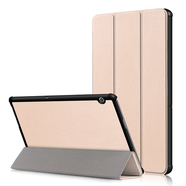 "Ultra Slim Tri-folding Flip Cover for Huawei MediaPad T5 10 AGS2-W09/L09/L03/W19 10.1"" PU Leather Tablet Case+Stylus"