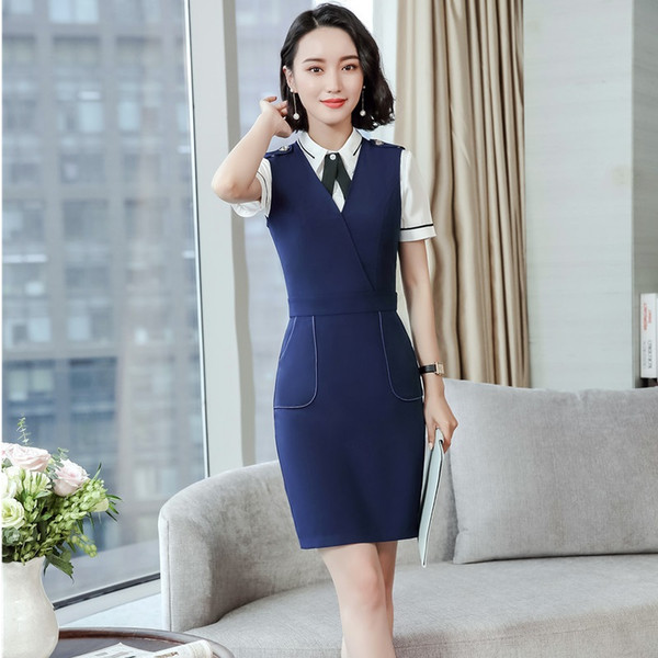 Formal Uniform Designs Two Pieces Business Suits With Dresses And Blouse  For Ladies Office Work Wear Female Blazers Sets 2e9513a01