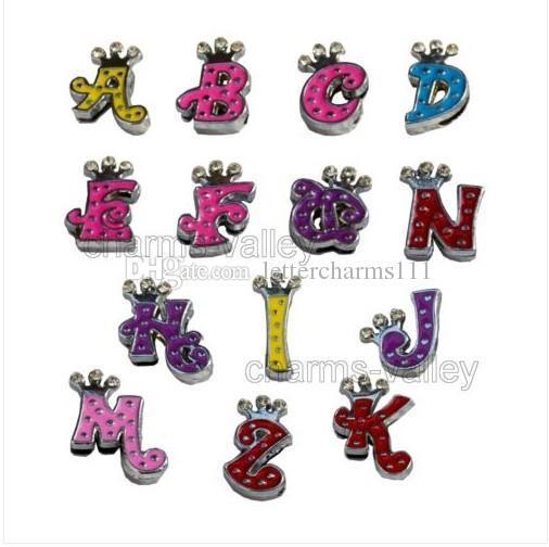 Wholesale Price 130pcs-260pcs 8mm Mix Color Rhinestone Crown Slide Letters A-Z DIY Slide Letters Charms Fit 8mm Wristband & Belt