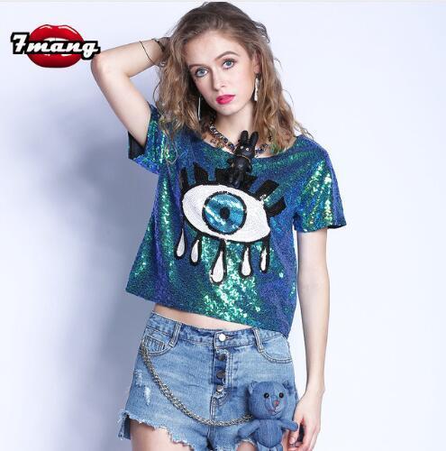 Compre Verano Calle Lentejuelas Monas La Oro A Plata Animados Mujeres Camisetas 2018 Verde Las Dibujos Sexy De Partido 7 Ojo Camiseta Moda lKcu3T1FJ