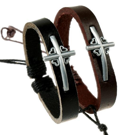 2019 Hot sales 20 Styles Men women Cross spot leather alloy jewelry bracelet Christian cross bracelets Couple Leather Bracelet