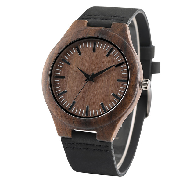 Handmade Wooden Mens Watches Classic Simple 12-Hours Display Men's Bamboo Genuine Leather Wristwatches Casual Clock Gifts Male