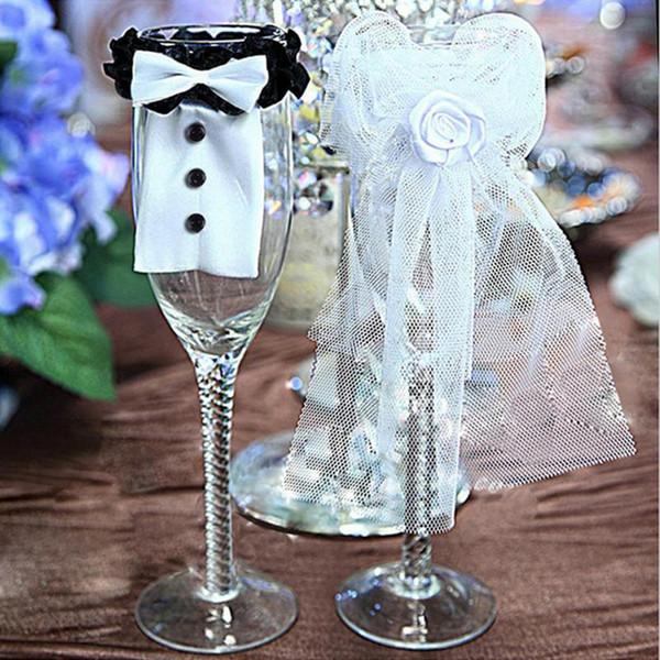 2 Unids / par Decoración de La Boda Matrimonio Novia Y Novio Copas de Vino Champagne Glasses Cup Party Año Nuevo Adornos Regalos