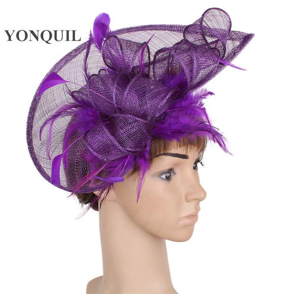 Eflatun veya çoklu renkler DAİREMİZ fascinator Yüksek kalite saç accessoriec moda düğün şapka fascinator tüy azaltma şapka SYF107