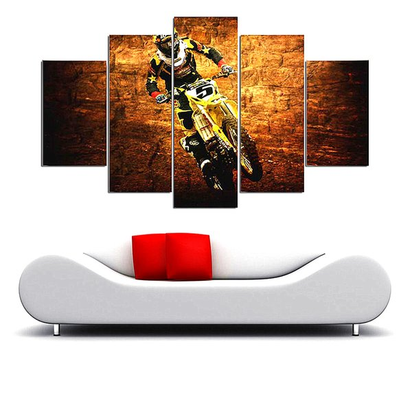 Motocross Jumps Group,5 Pieces The Latest Most Popular High-definition Canvas Printed Home Decorative Art/ Unframed / Framed