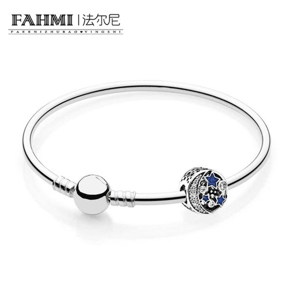 FAHMI 925 Sterling silver Vintage Night Sky Bangle Gift Set Clear CZ fit DIY Original charm Bracelets jewelry A set of prices