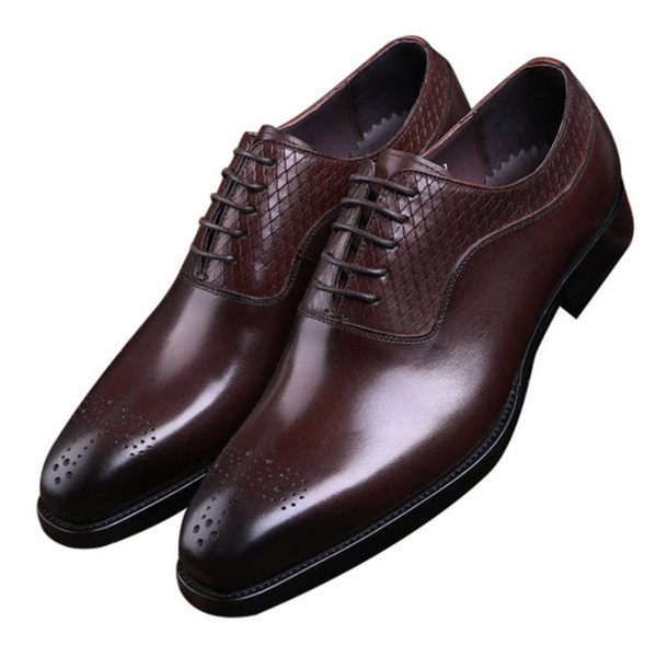 Fashion Brown Tan / Black Oxfords Business Shoes Mens Dress Shoes Genuine Leather Goodyear Welt Boys Prom Shoes