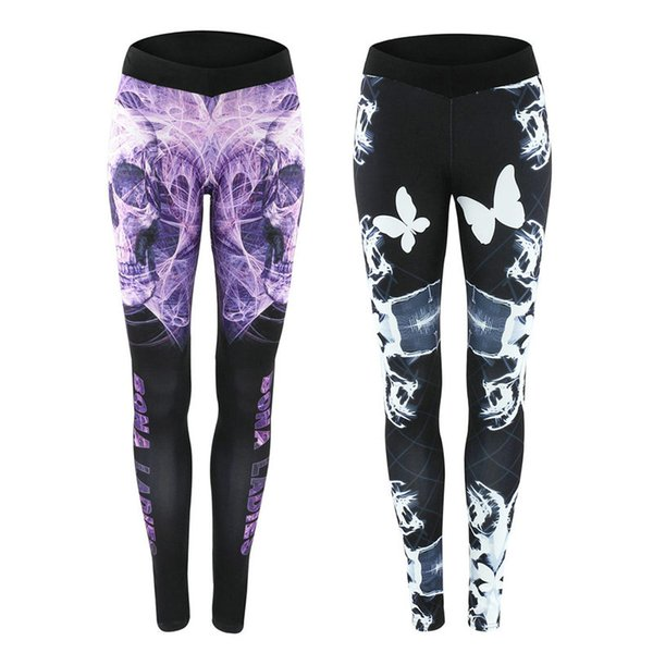 Daddy Chen Women Sport Leggings Cool Skull Printing Printed Sportswear Workout Gym Pant Gradient Color Elastic Yoga Tights