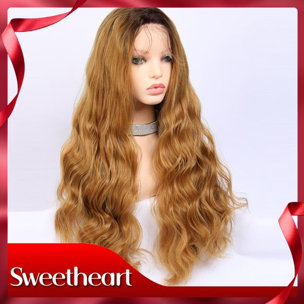 Vnice Honey Blonde Loose Wave Wig Middle Part Synthetic Lace Front Wig Medium Length Heat Resistant Fiber Hair For Women Lace Wigs Synthetic Lace Wigs