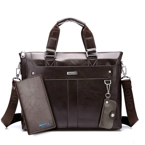 Fashion Men Tote Casual Briefcase Business Shoulder Black Leather High Quality Messenger Bags Laptop Handbag Men's Bag