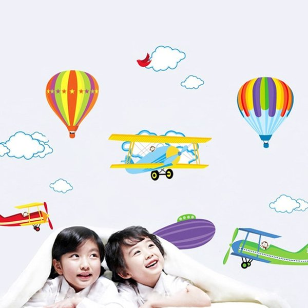 Home Decoration Stickers Posters Wall Stickers Cartoon Airplane and Hot Air Balloons Removable Wall sticker Vinyl Decals For Kids Room Boys